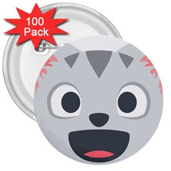 Cat Smile 3  Buttons (100 Pack)  by BestEmojis