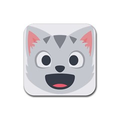 Cat Smile Rubber Square Coaster (4 Pack)  by BestEmojis