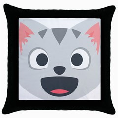 Cat Smile Throw Pillow Case (black)