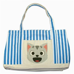 Cat Smile Striped Blue Tote Bag