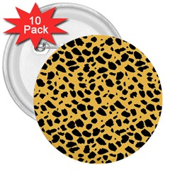 Skin Animals Cheetah Dalmation Black Yellow 3  Buttons (10 Pack)  by Mariart