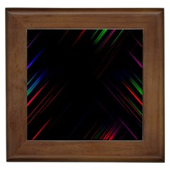 Streaks Line Light Neon Space Rainbow Color Black Framed Tiles