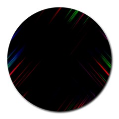 Streaks Line Light Neon Space Rainbow Color Black Round Mousepads by Mariart