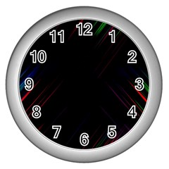 Streaks Line Light Neon Space Rainbow Color Black Wall Clocks (silver)  by Mariart
