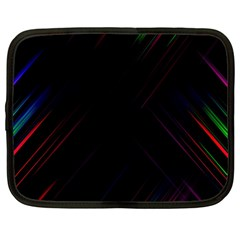 Streaks Line Light Neon Space Rainbow Color Black Netbook Case (large) by Mariart