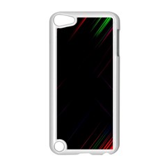 Streaks Line Light Neon Space Rainbow Color Black Apple Ipod Touch 5 Case (white) by Mariart