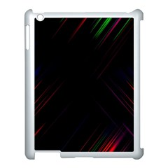 Streaks Line Light Neon Space Rainbow Color Black Apple Ipad 3/4 Case (white) by Mariart
