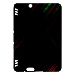 Streaks Line Light Neon Space Rainbow Color Black Kindle Fire Hdx Hardshell Case by Mariart