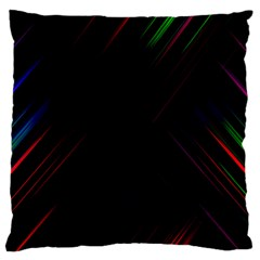 Streaks Line Light Neon Space Rainbow Color Black Large Flano Cushion Case (one Side) by Mariart