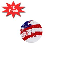Red White Blue Star Flag 1  Mini Buttons (10 Pack)  by Mariart