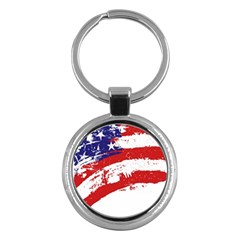 Red White Blue Star Flag Key Chains (round)  by Mariart