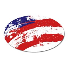 Red White Blue Star Flag Oval Magnet by Mariart