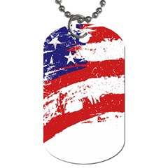 Red White Blue Star Flag Dog Tag (two Sides) by Mariart