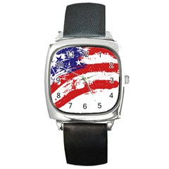 Red White Blue Star Flag Square Metal Watch by Mariart