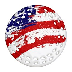 Red White Blue Star Flag Round Filigree Ornament (two Sides) by Mariart