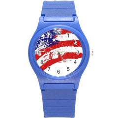 Red White Blue Star Flag Round Plastic Sport Watch (s) by Mariart