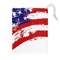 Red White Blue Star Flag Drawstring Pouches (extra Large) by Mariart