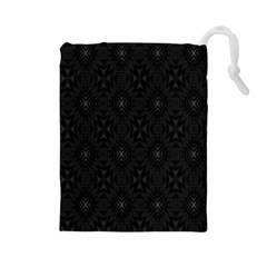 Star Black Drawstring Pouches (large)  by Mariart