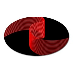 Tape Strip Red Black Amoled Wave Waves Chevron Oval Magnet by Mariart