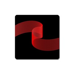 Tape Strip Red Black Amoled Wave Waves Chevron Square Magnet by Mariart