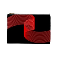 Tape Strip Red Black Amoled Wave Waves Chevron Cosmetic Bag (large)  by Mariart