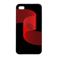 Tape Strip Red Black Amoled Wave Waves Chevron Apple Iphone 4/4s Seamless Case (black) by Mariart