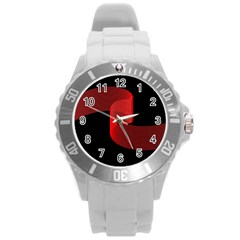 Tape Strip Red Black Amoled Wave Waves Chevron Round Plastic Sport Watch (l) by Mariart