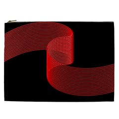 Tape Strip Red Black Amoled Wave Waves Chevron Cosmetic Bag (xxl)  by Mariart