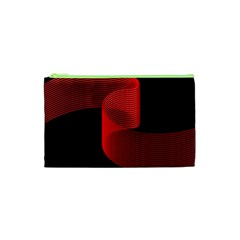 Tape Strip Red Black Amoled Wave Waves Chevron Cosmetic Bag (xs) by Mariart