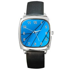 Technical Line Blue Black Square Metal Watch by Mariart