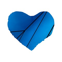 Technical Line Blue Black Standard 16  Premium Flano Heart Shape Cushions by Mariart