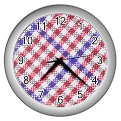 Webbing Wicker Art Red Bluw White Wall Clocks (silver)  by Mariart