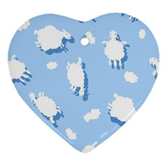 Vector Sheep Clouds Background Ornament (heart)