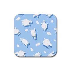 Vector Sheep Clouds Background Rubber Square Coaster (4 Pack)