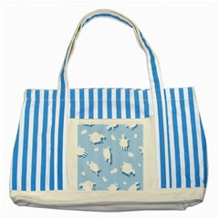 Vector Sheep Clouds Background Striped Blue Tote Bag by Nexatart