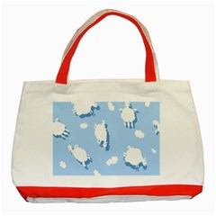 Vector Sheep Clouds Background Classic Tote Bag (red)