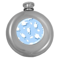 Vector Sheep Clouds Background Round Hip Flask (5 Oz)