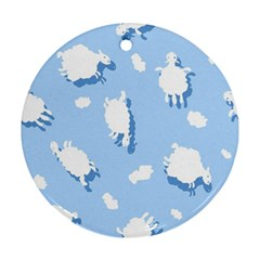 Vector Sheep Clouds Background Round Ornament (two Sides) by Nexatart