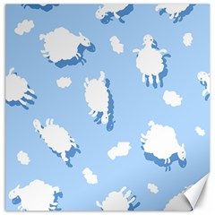 Vector Sheep Clouds Background Canvas 16  X 16   by Nexatart