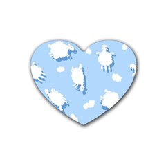 Vector Sheep Clouds Background Heart Coaster (4 Pack)