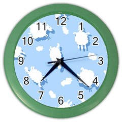 Vector Sheep Clouds Background Color Wall Clocks by Nexatart