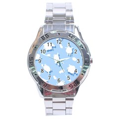 Vector Sheep Clouds Background Stainless Steel Analogue Watch by Nexatart