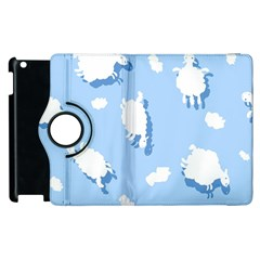 Vector Sheep Clouds Background Apple Ipad 3/4 Flip 360 Case by Nexatart