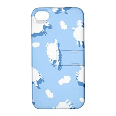 Vector Sheep Clouds Background Apple Iphone 4/4s Hardshell Case With Stand by Nexatart