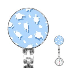 Vector Sheep Clouds Background Stainless Steel Nurses Watch