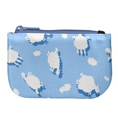 Vector Sheep Clouds Background Large Coin Purse by Nexatart