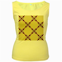 Pattern Background Vector Seamless Women s Yellow Tank Top