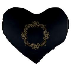 Monogram Vector Logo Round Large 19  Premium Heart Shape Cushions by Nexatart