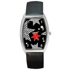 Stars Seamless Pattern Background Barrel Style Metal Watch