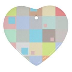 Pastel Diamonds Background Ornament (heart) by Nexatart